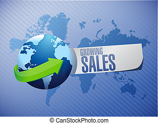 growing sales global sign concept illustration design...