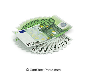 One thousand Euros - Stack of hundred Euros isolated on...