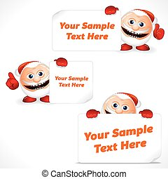 Cartoon Santa Claus with Blank Banner and Sign