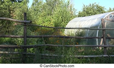 Farm garden enclosed with wooden fence with greenhouse,...