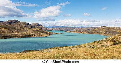 panorama of patagonia - gorgeous panorama of lake pehoe in...