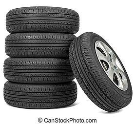 Closeup of five tires