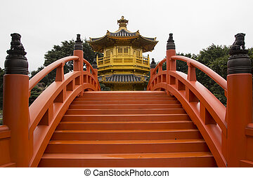 Chi Lin Nunnery, Golden pagoda with red wooden bridge in...