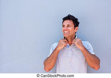 Smiling older handsome man