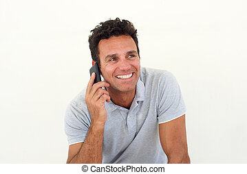 Smiling older man talking on mobile phone - Close up...