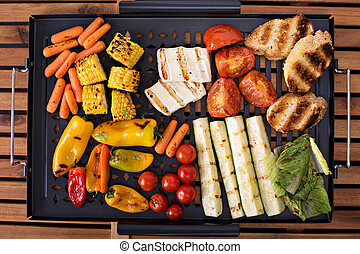 Grilled vegetables on a pan - Grilled vegetables, bread and...