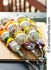 Vegetable kabobs ready to be grilled - Vegetable and...