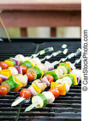 Vegetable kabobs on the grill - Vegetable and mushrooms...