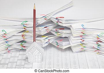 布朗, 賬戶, 財政, 垂直, 鉛筆, 房子, 地方, 有, 迷離
