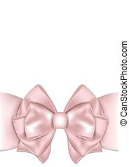 Beautiful pink bow with ribbon.