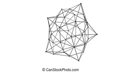 3D illustration of geometric connection structure on white...
