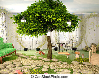 3d illustration of Concept of eco home Room full of plants,...