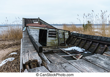 Abandoned and broken wooden ship - Abandoned and broken...