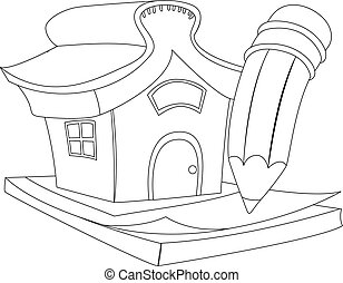 Outlined House with Pencil