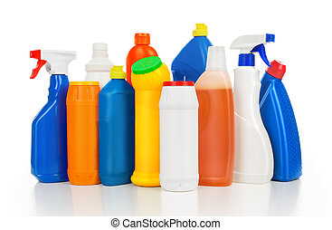 Plastic detergent bottles isolated on white background. Cleaning equipment.