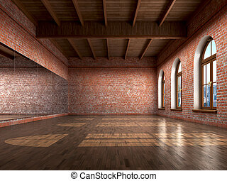 Big empty room in grange style with wooden floor, bricks...