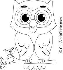 Outlined Owl - Coloring Book Outlined Owl