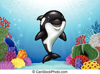 Cute orca with underwater world - Vector illustration of...