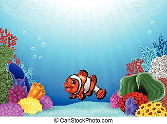 Cute clown fish with Coral Reef
