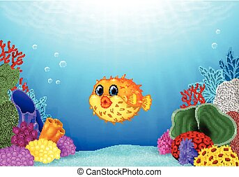 Cartoon puffer fish with Coral Reef - Vector illustration of...