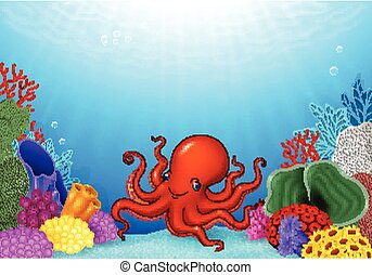 Cartoon Octopus with Coral Reef - Vector illustration of...