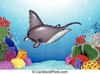 Cartoon stingray with Coral Reef - Vector illustration of...
