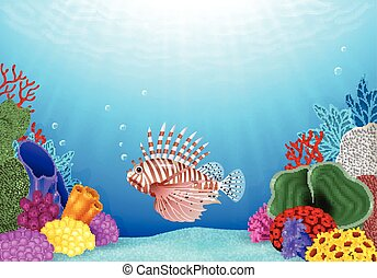 Cartoon Scorpion fish - Vector illustration of Cartoon...