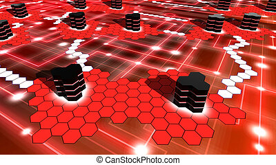 Supercomputer network on in red hexagon shaped - Hexagon...