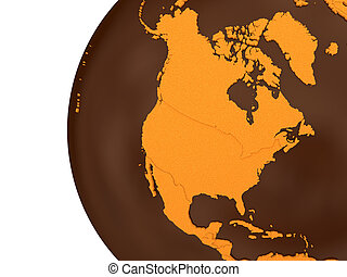 North America on chocolate Earth - North America on...