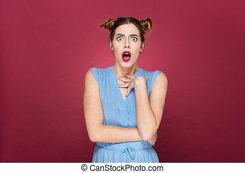 mulher, aberta, jovem, chocado, boca, Retrato, espantado