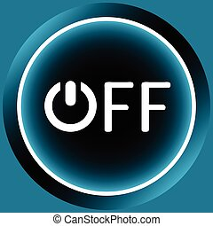 Icon white word off - Icon graphic sign of switching off and...