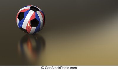Glossy France soccer ball on golden metal surface