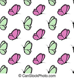 green and fucsia with black butterflies - Seamless spring...