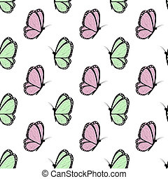 green and pink with black butterflies - Seamless spring with...