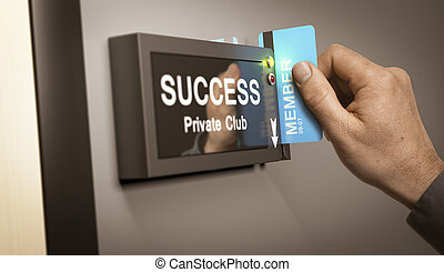 Achieving Success, accomplishment - Hand with blue cardkey...