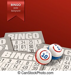 Bingo Background with Balls and Cards Vector Illustration -...