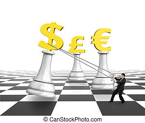 Man pulling dollar sign of money chess on chessboard, with...