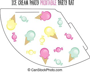 Party hat. Ice cream party