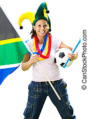 happy african soccer fan - a female happy african soccer fan...