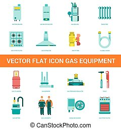 Vector flat icon gas equipment Gas equipment and household...