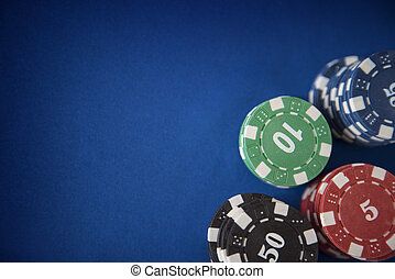 Gambling chips on casino table