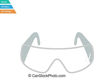 Flat design icon of chemistry protective eyewear in ui...