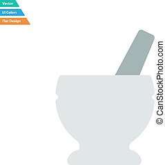 Flat design icon of chemistry mortar in ui colors Vector...