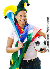 female sports fan - a south african soccer supporter wearing...