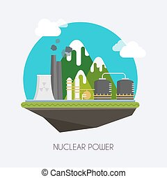 Nuclear power. Landscape and industrial factory buildings concept. Vector flat infographic.