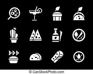 Simple white glyph mexican menu vector icons