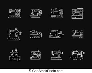 Tailoring machinery white flat line vector icons