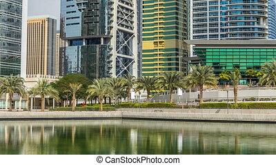 Residential buildings in Jumeirah Lake Towers timelapse in...