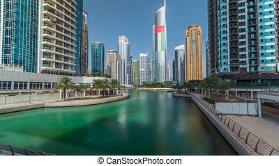 Residential buildings in Jumeirah Lake Towers timelapse in...