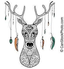 Tribal boho style deer on rustic background in vector